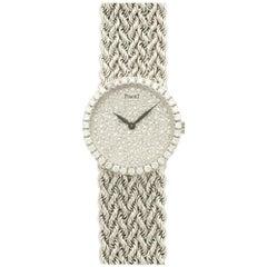 Piaget White Gold Pave Diamond Woven Link Bracelet Wristwatch