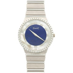 Piaget White Gold Lapis Lazuli Diamond Mother-of-Pearl Bracelet Wristwatch