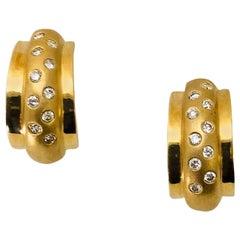 Diamond Yellow Gold Half Hoop Earrings