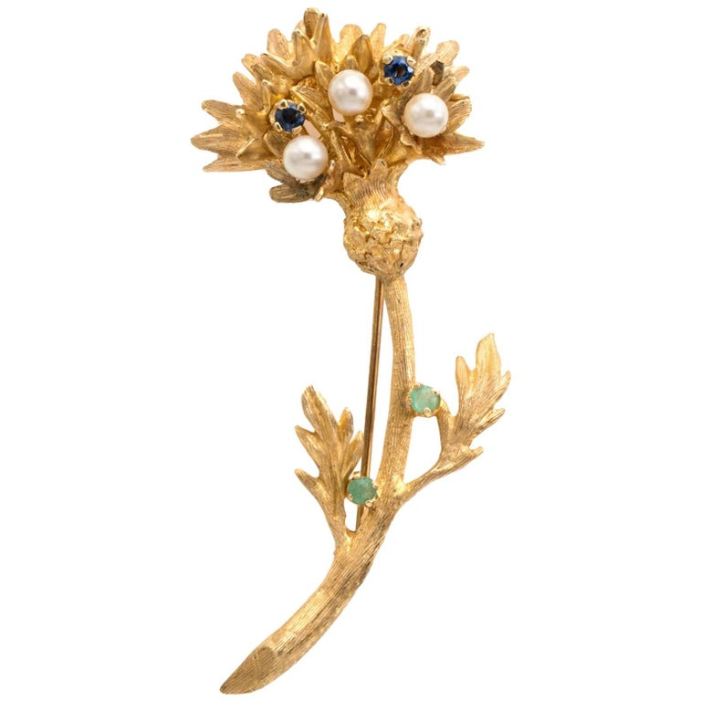 Floral Brooch 14 K Yellow Gold 1970 Pearl and Saphir Emerald