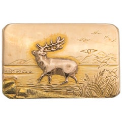 Yellow Gold Brooch Hunting Nature Dear Scene Overlay and Engraved
