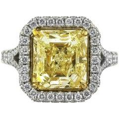 Mark Broumand 6.27 Carat Fancy Light Yellow Asscher Cut Diamond Engagement Ring