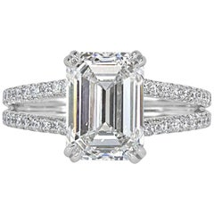 Mark Broumand 3.95 Carat Emerald Cut Diamond Engagement Ring in Platinum