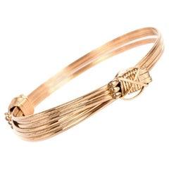Gold Adjustable Elephant Knot Bracelet Bangle