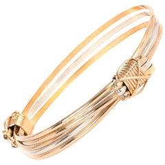 Gold Silver Strand Adjustable Elephant Knot Bracelet Bangle