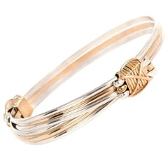 Silver Gold Strand Adjustable Elephant Knot Bracelet Bangle
