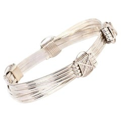 Large Silver Adjustable Elephant Knot Bangle Bracelet