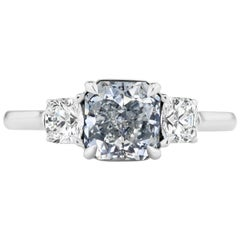 Scarselli GIA Certified 1.41 Carat Gray Blue Radiant Cut Diamond Engagement Ring