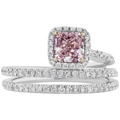 Scarselli Fancy Purple-Pink  Radiant Cut Diamond Engagement Ring GIA Certified