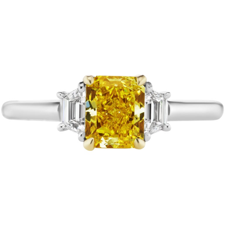 GIA Certified 1.18 Carat Vivid Yellow Radiant Cut Diamond Engagement Ring
