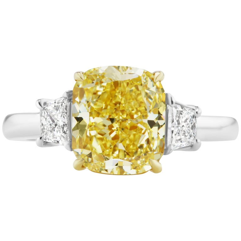 Scarselli 3.80 carat Fancy Intense Yellow Cushion Cut Diamond Engagement Ring  For Sale