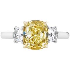 Scarselli GIA Certified 2.5 Carat Yellow Cushion Cut Diamond and Engagement Ring