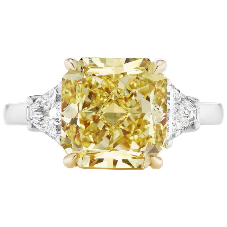 Scarselli 6 Carat Intense Yellow Radiant Cut Diamond Platinum Engagement Ring For Sale