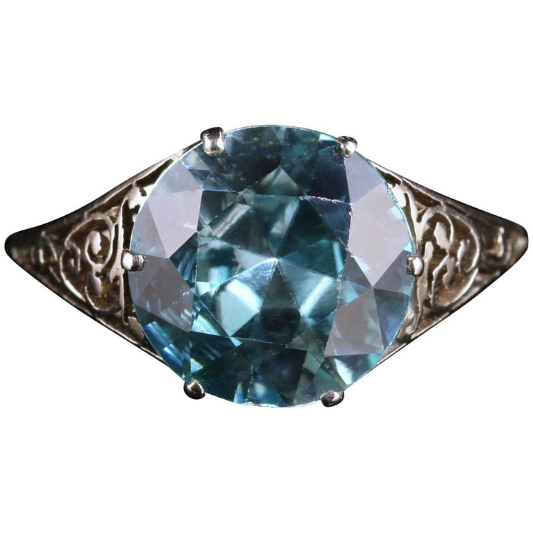 Antique Edwardian Blue Zircon Platinum Ring