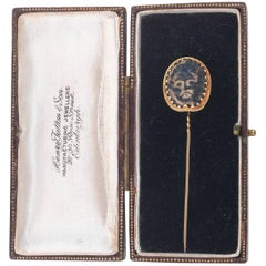 French Gold Stick-Pin Glass Cameo Acheloos