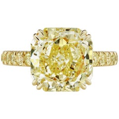 Scarselli 5.69 carat Light Yellow Radiant Cut Diamond Ring GIA Certified