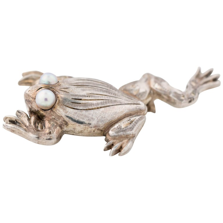 1960s Sterling Silver Frog Pin Brooch