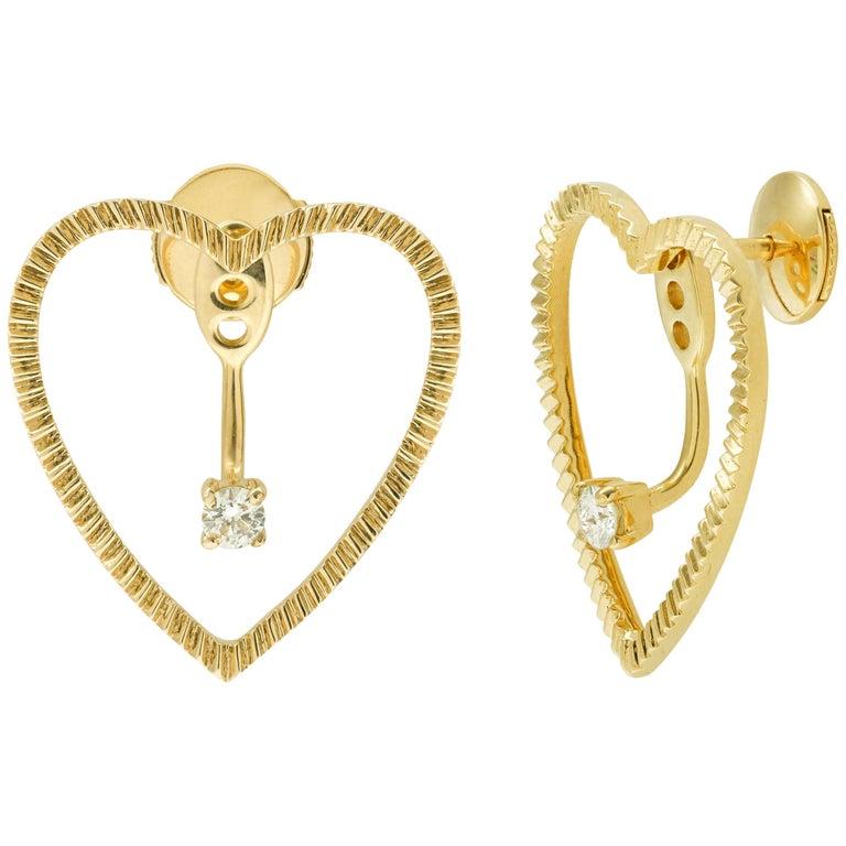 Yvonne Leon's Earring Heart with Diamonds in 18 Karat Gold