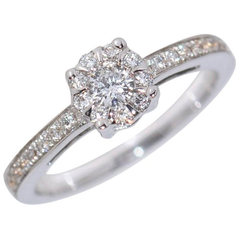 White Diamonds and White Gold Bouquet Engagement Ring
