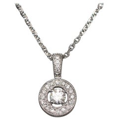 White Diamonds Crimp in a Round White Gold Chain Pendant Necklace