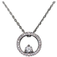 White Diamonds Crimp in a Circle White Gold Pendant Necklace
