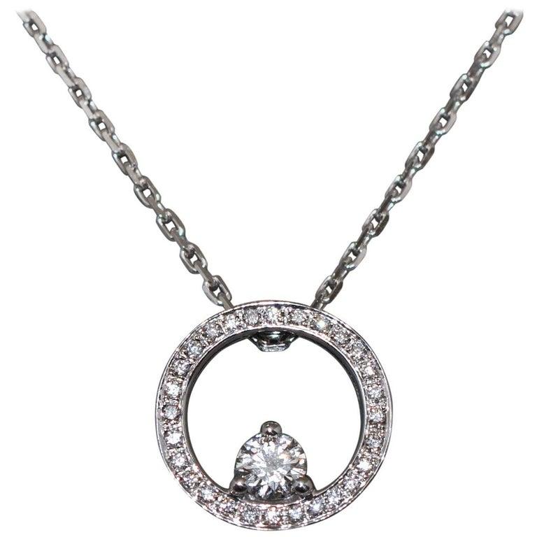 White Diamonds Crimp in a Circle White Gold Pendant Necklace