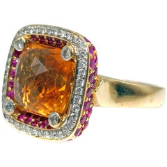 3.12 Carat Rose Cut Faceted Citrine Diamond and Pink Sapphire Gold Ring