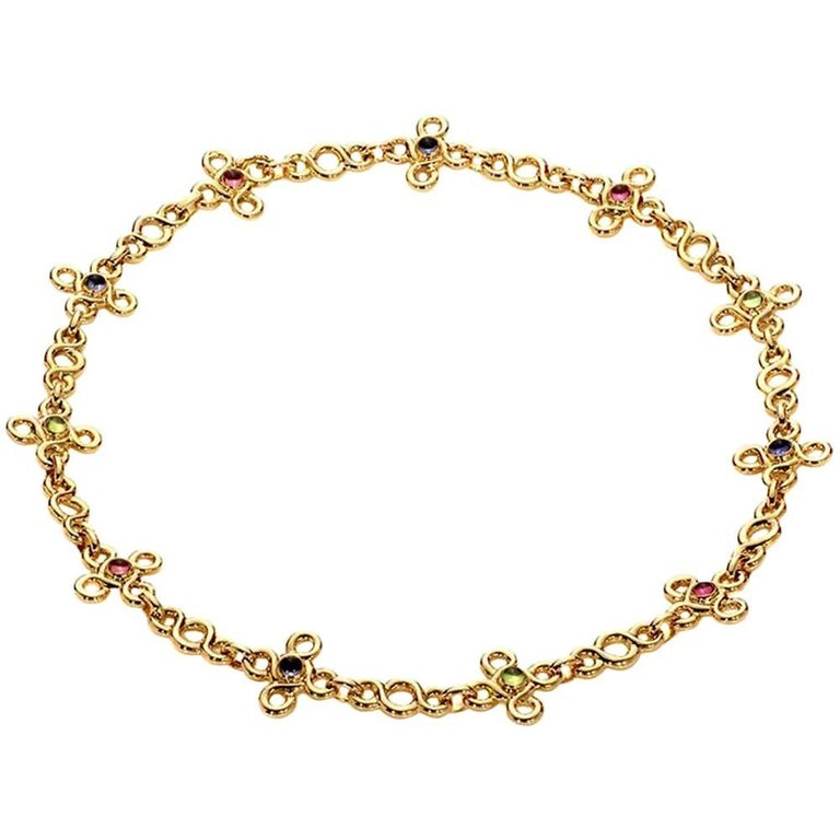 Chanel Gemstone Gold Choker Necklace