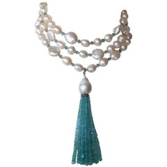 Blue Topaz, 14 Karat White Gold, and Pearl Sautoir with Tassel by Marina J