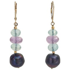 Marina J Blue Topaz, Amethyst, and Black Pearl Earrings with 14K Gold earrings