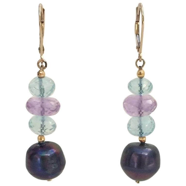 Blue Topaz, Amethyst, and Black Pearl Earrings with 14 Karat Gold Lever Back