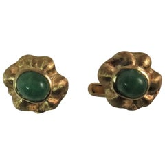 18K Yellow Gold Cufflinks, Florentine Finish with Cabochon Emeralds