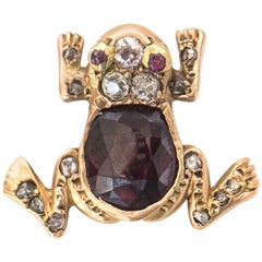 1890s Victorian Frog Charm with Diamonds, Rubies, Garnet in 9 Karat Yellow Gold