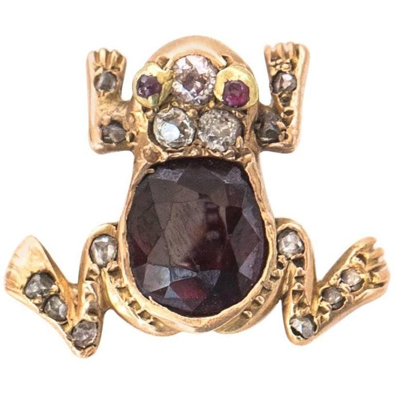 1890s Victorian Frog Charm with Diamonds, Rubies, Garnet in 9 Karat Yellow Gold