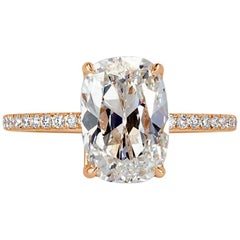 Mark Broumand 3.31 Carat Old Mine Cut Diamond Ring in 18 Karat Rose Gold