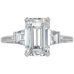 Mark Broumand 3.62 Carat Emerald Cut Diamond Three-Stone Ring in Platinum