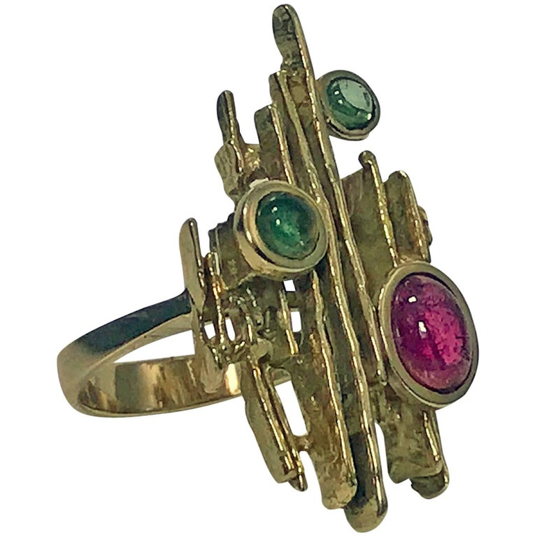 1970s Henkel and Grosse Germany  Abstract Sculptural Gem Gold Ring