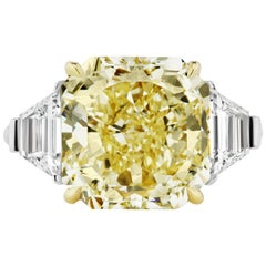 Scarselli GIA Certified 8.12 Carat Yellow Radiant Cut Diamond Engagement Ring