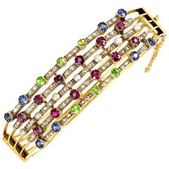 Dutch Antique Gold Multi-Gemstone Pearl Harem Bracelet