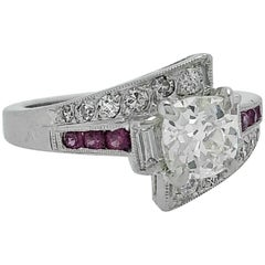 1.03 Carat Diamond Pink Sapphire Platinum Antique Engagement Ring