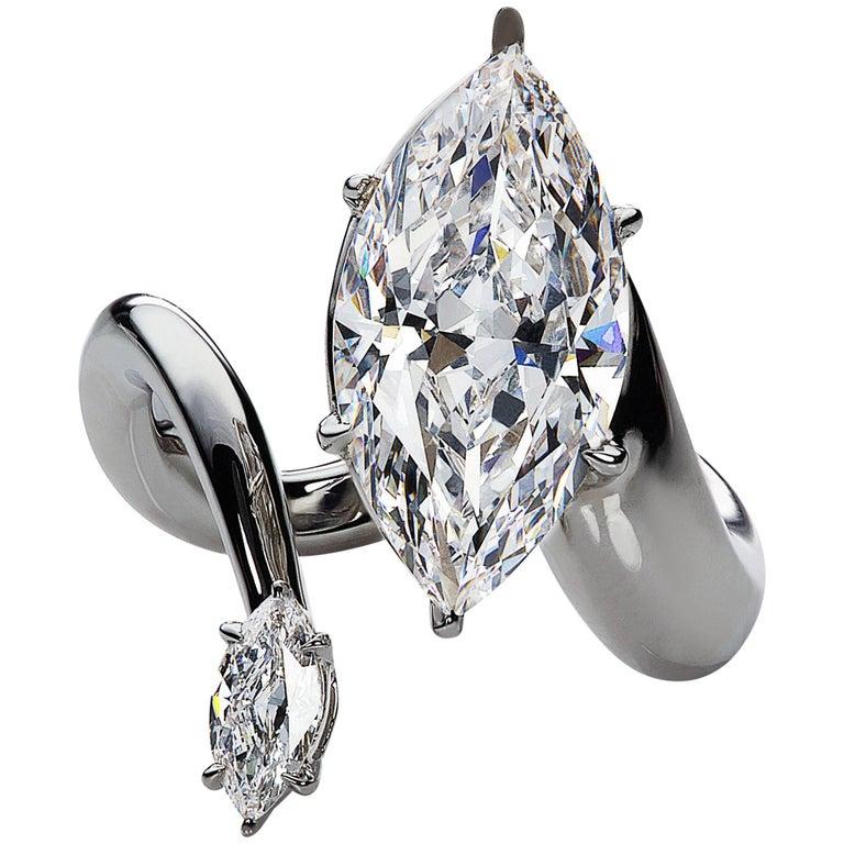 DeBeers Millenium GIA Certified 5 Carat Marquise Cut Diamond and Platinum Ring For Sale