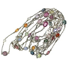 Multi Colored Sapphire Diamond Chain 18K Gold
