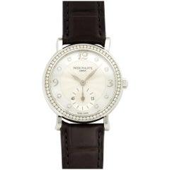 Patek Philippe White Gold Diamond Calatrava Manual Wristwatch Ref 4959