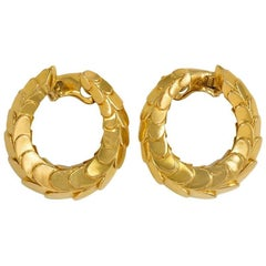 1960s Cartier Hoop Earrings of Scaled Design