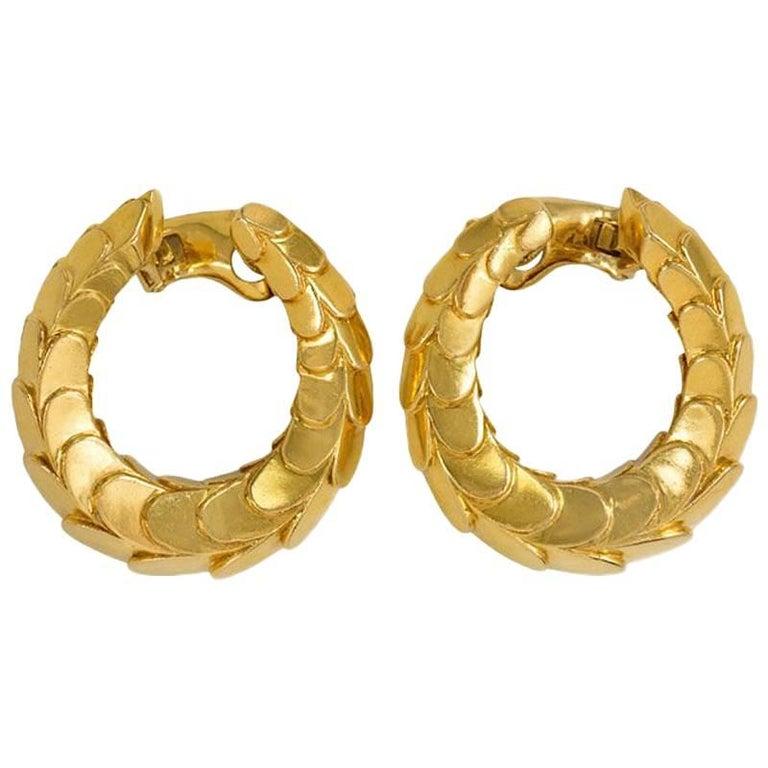 1960s Cartier Hoop Earrings of Scaled Design
