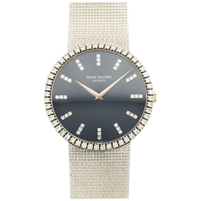 Patek Philippe White Gold Diamond Wristwatch Ref 3588, Circa 1970s