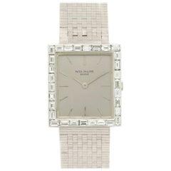 Patek Philippe White Gold Rectangular Baguette Diamond Wristwatch Ref 3540