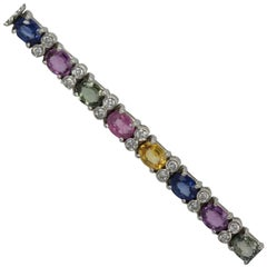 Multi Colored Fancy Sapphire Diamond Bracelet 12.70 Carats