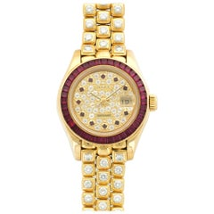 Rolex Yellow Gold Diamond Pave Datejust Pearlmaster Automatic Wristwatch