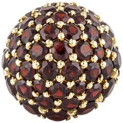 18 Karat Garnet Dome Ring